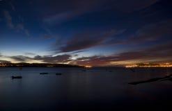 Obidos lagun på natten Royaltyfria Bilder