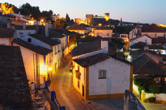 Obidos lights at dusk Royalty Free Stock Photography