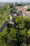 Obidos  with medieval stone walls Stock Photography