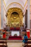 Obidos, Portogallo Altare di barocco della chiesa di Pedro del sao Fotografie Stock Libere da Diritti
