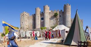 Obidos, Portogallo Castello di Obidos durante la rievocazione giusta medievale Fotografie Stock