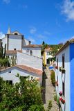Obidos in Portugal. Beautiful colorful houses in the medieval Village of Obidos, Portugal royalty free stock image