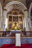 Obidos, Portugal. Altar of the medieval Santa Maria Church with an altarpiece Stock Image