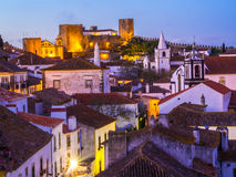 Obidos, Portugal. Cityscape of Obidos, Portuga, by night Stock Images