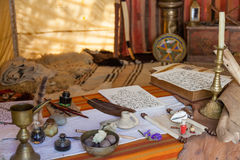 Obidos, Portugal. Medieval Moorish scribe tent reenactment in the very popular Medieval Market Royalty Free Stock Photography
