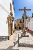 Obidos, Portugal. Misericordia Church with the Medieval Sephardic Synagogue in background Royalty Free Stock Photography