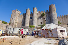 Obidos, Portugal. Obidos Castle during the Medieval Fair reenactment Stock Photography
