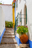 Obidos, Portugal. Typical medieval street. Royalty Free Stock Image