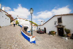 Obidos street with restaurant Royalty Free Stock Image