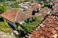 Obidos town. Aerial view of town of Obidos showing rooftops, Leiria, Portugal Royalty Free Stock Image
