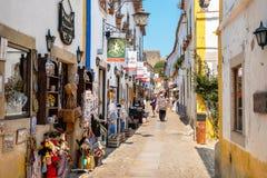 Obidos ulica Estremadura, Portugalia Fotografia Stock