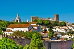 Obidos. View to Historic Center City of Obidos, Portugal Stock Photo