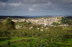 Obidos Village. Rural landscape with the typical village of Obidos, Portugal, in the distance Royalty Free Stock Photography