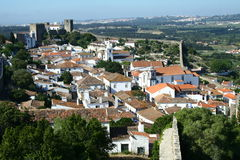 Obidos village panorama. In Portugal Stock Images