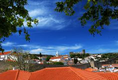 Obidos Village, Portugal. Rooftops and clear blue sky in Obidos village in Portugal Royalty Free Stock Photo
