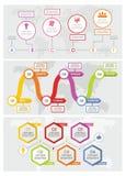 Obieg linii czasu sztandaru pojęcia set, mieszkanie styl ilustracja wektor