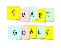 Obiettivi astuti sulle note appiccicose variopinte Fotografie Stock