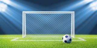 Obiettivi e sfera di gioco del calcio (calcio) sul gr vuoto pulito Fotografie Stock