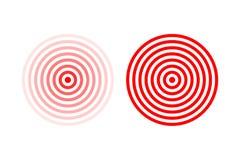 Obiettivi o insieme di simboli di posizione di dolore Segni rossi di posizione di dolore di vettore isolati su fondo bianco Immagine Stock Libera da Diritti