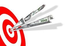 Obiettivo & 100 dollari di banconote Fotografia Stock Libera da Diritti