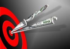 Obiettivo & 100 dollari di banconote Fotografie Stock Libere da Diritti