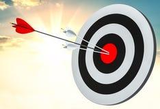 Obiettivo colpito nel centro dalle frecce Immagini Stock Libere da Diritti