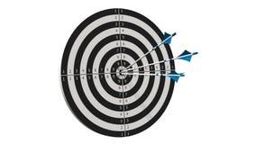 Obiettivo con le frecce - obiettivo con tre frecce dell'arco in mezzo all'obiettivo isolato su bianco Fotografie Stock Libere da Diritti