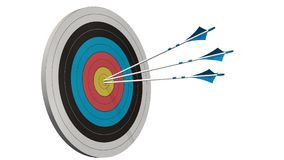 Obiettivo con le frecce - obiettivo con tre frecce dell'arco in mezzo all'obiettivo isolato su bianco Immagini Stock Libere da Diritti