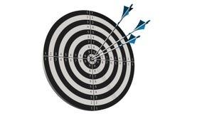 Obiettivo con le frecce - obiettivo con tre frecce dell'arco in mezzo all'obiettivo isolato su bianco Fotografia Stock