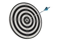 Obiettivo con una freccia - obiettivo con una freccia dell'arco in mezzo all'obiettivo isolato su bianco Fotografie Stock