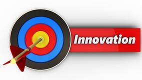 obiettivo 3d con il segno dell'innovazione Fotografia Stock