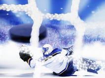 Obiettivo del hokey di ghiaccio Fotografie Stock