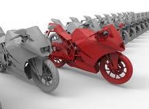Obiettivo del motociclo nel concetto di fila Immagine Stock