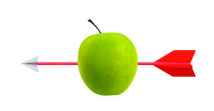 Obiettivo della mela e della freccia Immagini Stock Libere da Diritti