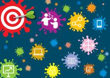 Obiettivo delle icone del mercato e dell'eccellenza di Digital sugli scopi Fotografia Stock Libera da Diritti