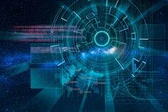 Obiettivo di laser cyber sul fondo della Via Lattea Fotografia Stock