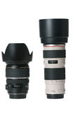 Obiettivo di macchina fotografica dei due professionisti Fotografia Stock