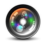 Obiettivo di macchina fotografica su priorità bassa bianca Fotografie Stock Libere da Diritti