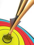 Obiettivo di tiro all'arco con due frecce Fotografia Stock Libera da Diritti