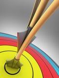 Obiettivo di tiro all'arco con due frecce Fotografia Stock
