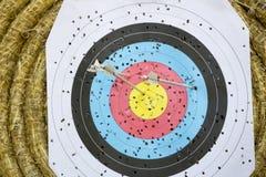 Obiettivo di tiro con l'arco con le frecce sopra Fotografia Stock