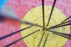 Obiettivo di tiro con l'arco con le frecce su  Sfera differente 3d Immagine Stock Libera da Diritti