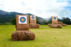 Obiettivo di tiro con l'arco tre sul campo Fotografie Stock