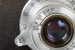 Obiettivo di vecchia macchina fotografica Fotografie Stock
