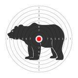 Obiettivo per la galleria di fucilazione con la siluetta enorme dell'orso royalty illustrazione gratis