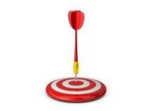 Obiettivo rosso con la freccia di plastica del dardo Fotografia Stock Libera da Diritti