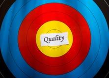 Obiettivo sul concetto di qualità Fotografia Stock Libera da Diritti