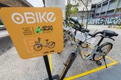 OBike cyklar i Kuala Lumpur Royaltyfri Foto
