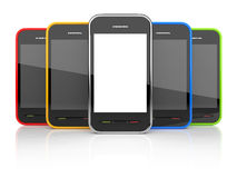 Obile smartphones with empty screen 3D. Icon. Stock Image
