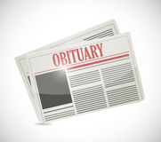 Obituary newspaper section illustration design. Over a white background Royalty Free Stock Images